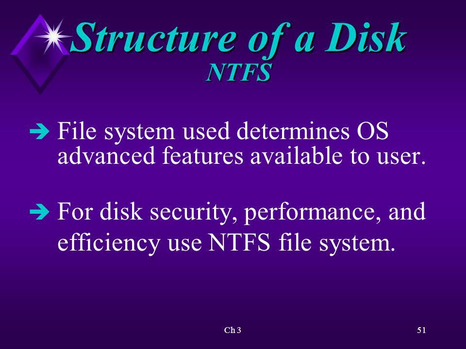 Structure of a Disk NTFS