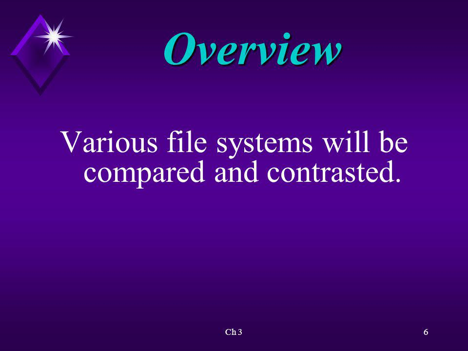 Various file systems will be compared and contrasted.