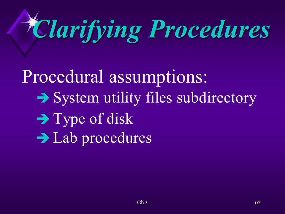 Clarifying Procedures