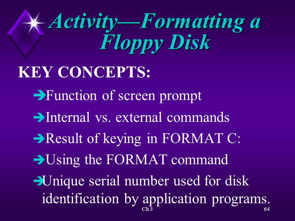 Activity—Formatting a Floppy Disk