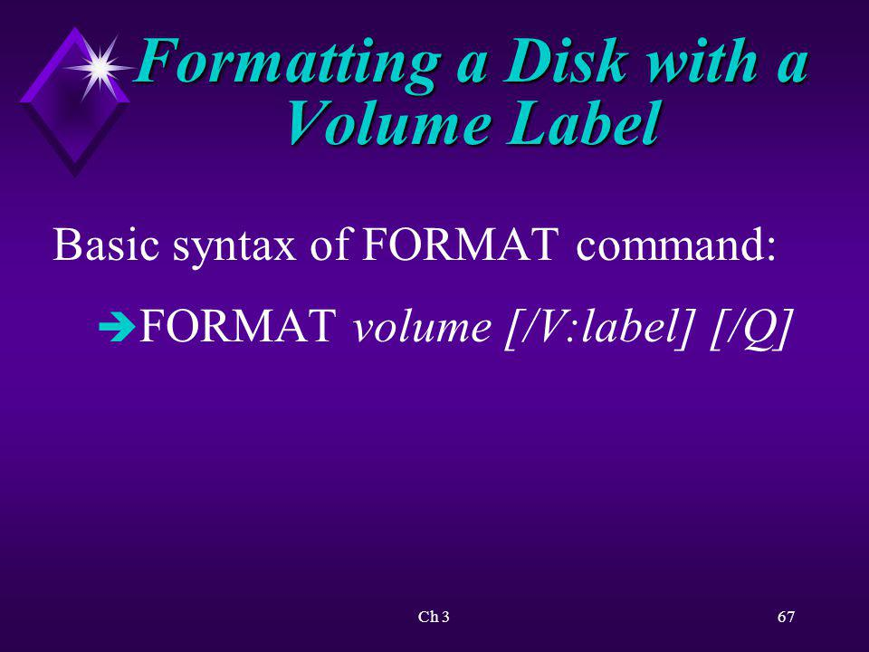 Formatting a Disk with a Volume Label