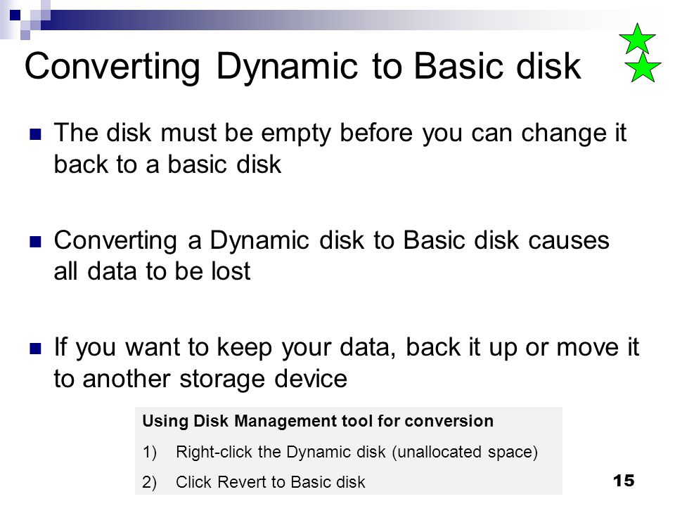Converting Dynamic to Basic disk