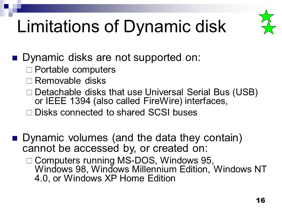 Limitations of Dynamic disk
