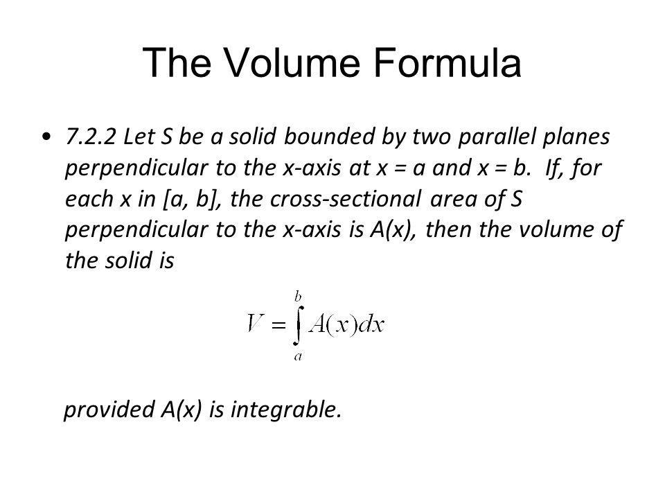 The Volume Formula
