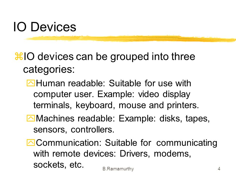 IO Devices IO devices can be grouped into three categories: