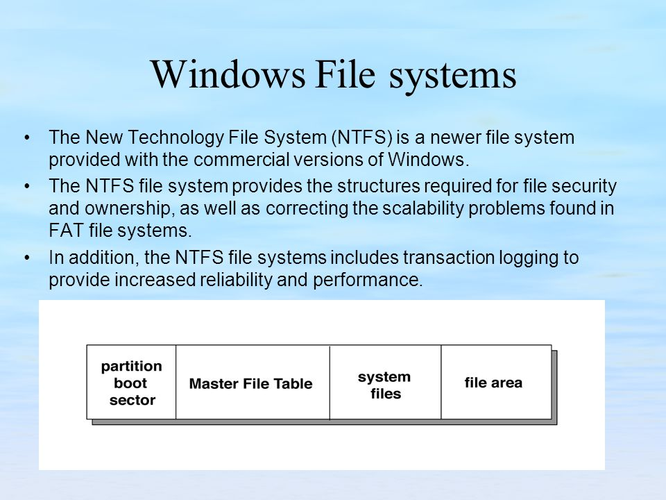 Windows File systems The New Technology File System (NTFS) is a newer file system provided with the commercial versions of Windows.