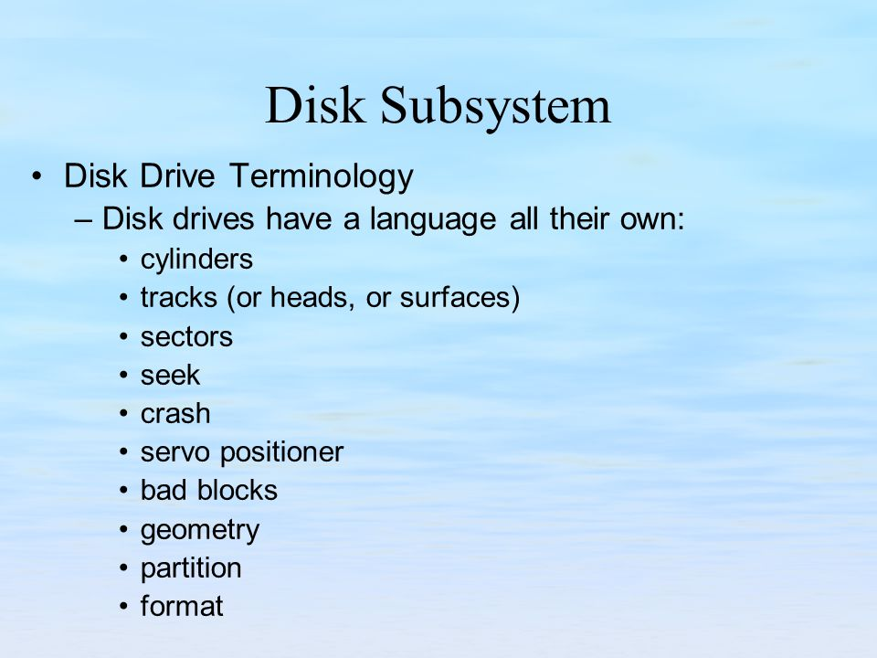 Disk Subsystem Disk Drive Terminology