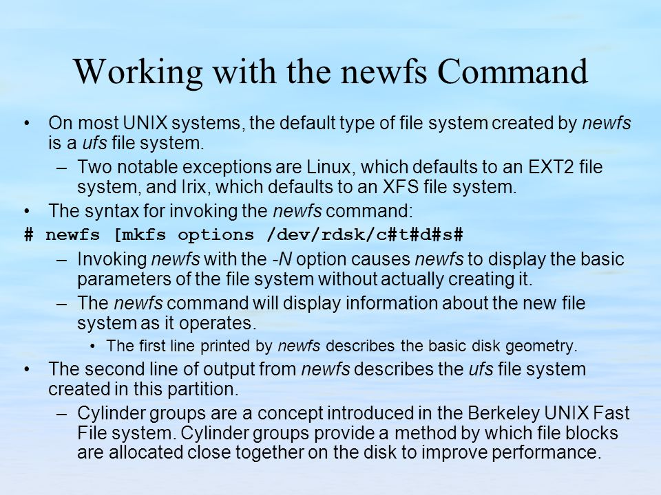 Working with the newfs Command