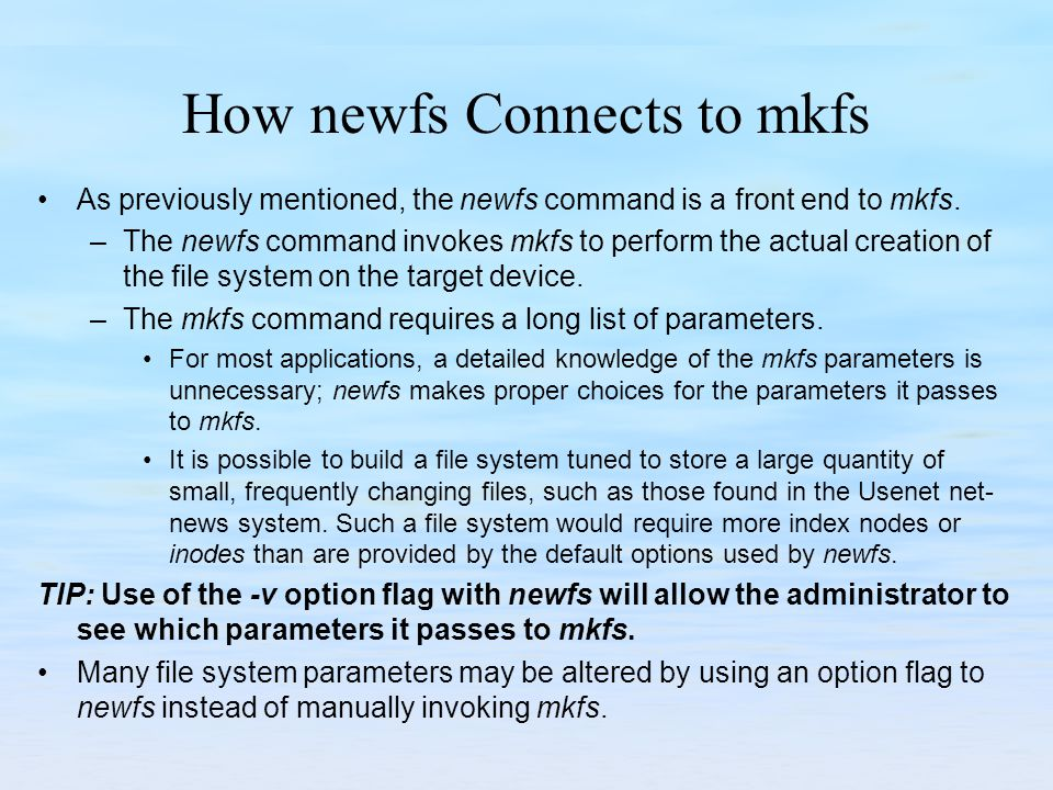How newfs Connects to mkfs