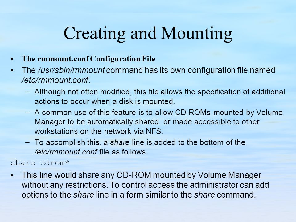 Creating and Mounting The rmmount.conf Configuration File