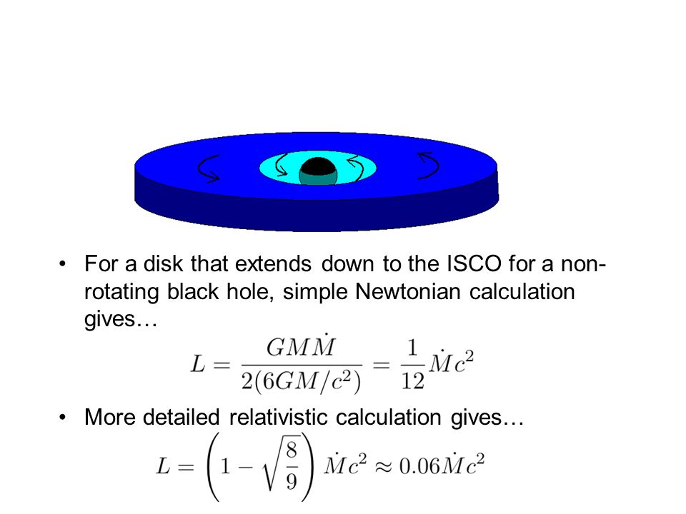 For a disk that extends down to the ISCO for a non-rotating black hole, simple Newtonian calculation gives…