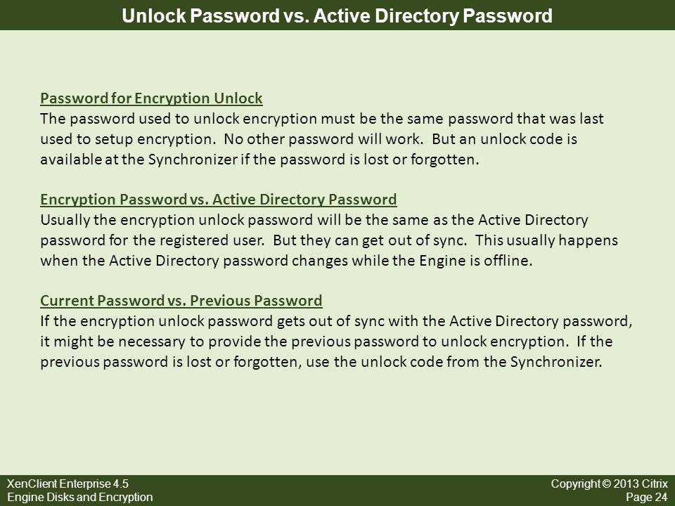 Unlock Password vs. Active Directory Password