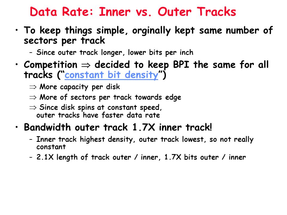 Data Rate: Inner vs. Outer Tracks