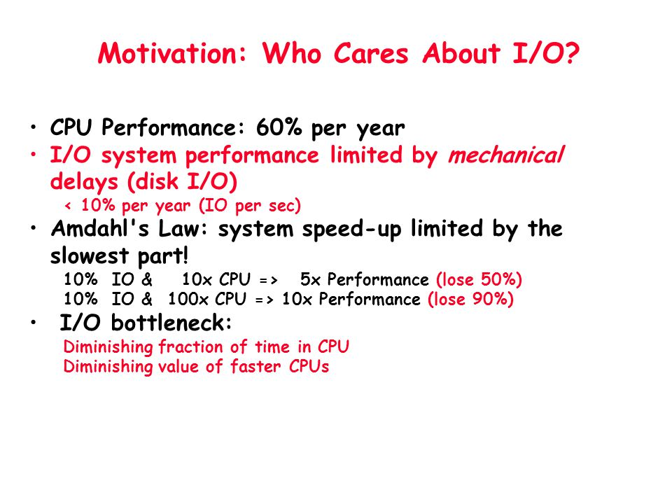 Motivation: Who Cares About I/O