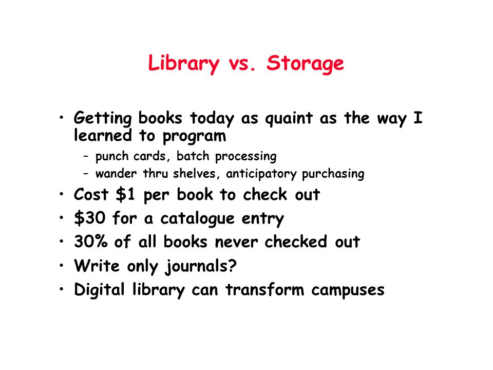 Library vs. Storage Getting books today as quaint as the way I learned to program. punch cards, batch processing.