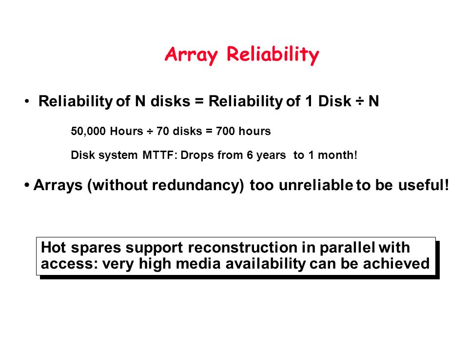 Array Reliability Reliability of N disks = Reliability of 1 Disk ÷ N