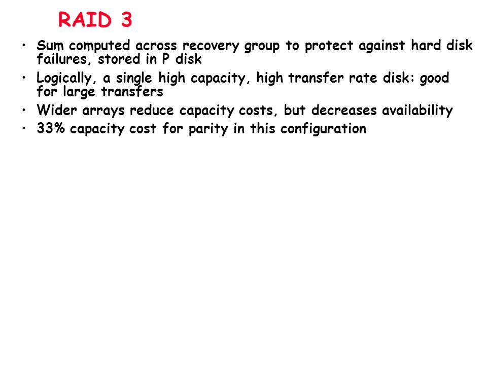 RAID 3 Sum computed across recovery group to protect against hard disk failures, stored in P disk.