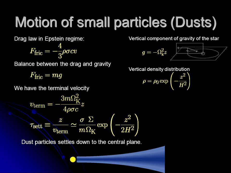 Motion of small particles (Dusts)