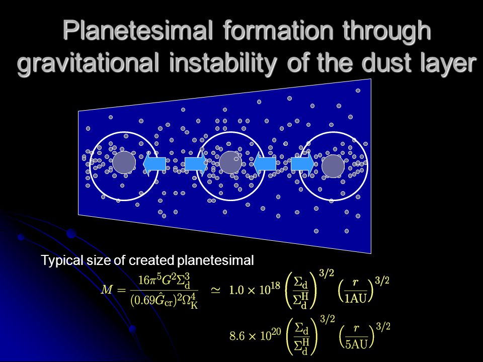 Planetesimal formation through gravitational instability of the dust layer