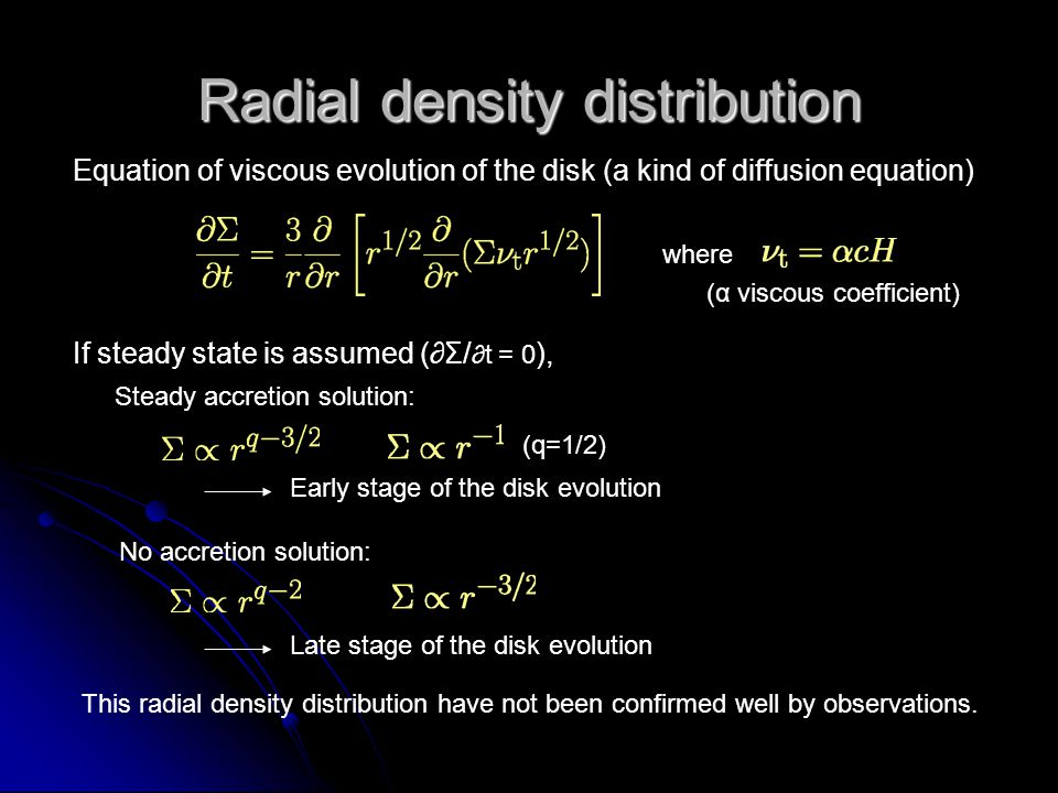 Radial density distribution