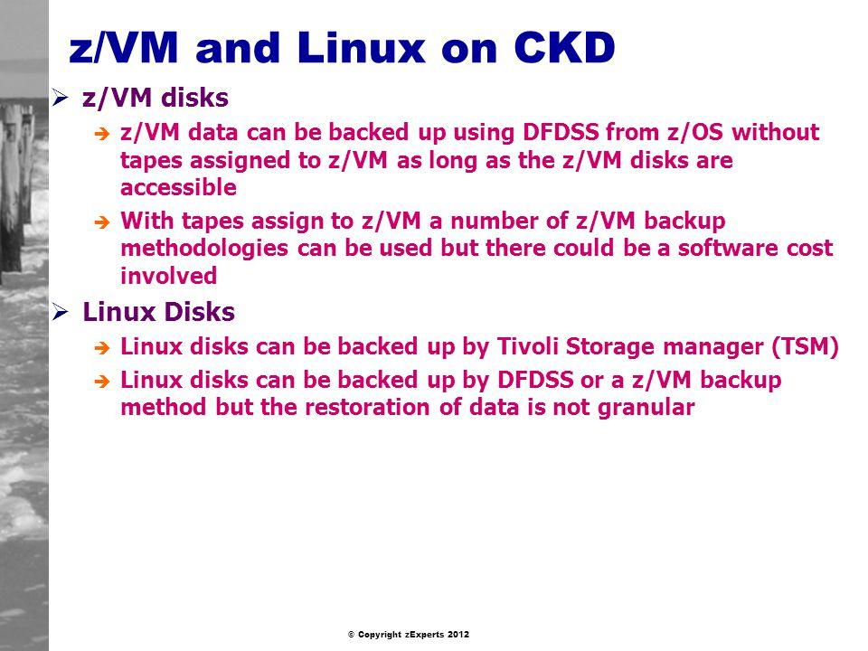 z/VM and Linux on CKD z/VM disks Linux Disks