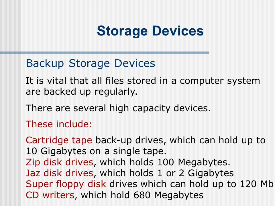 Storage Devices Backup Storage Devices