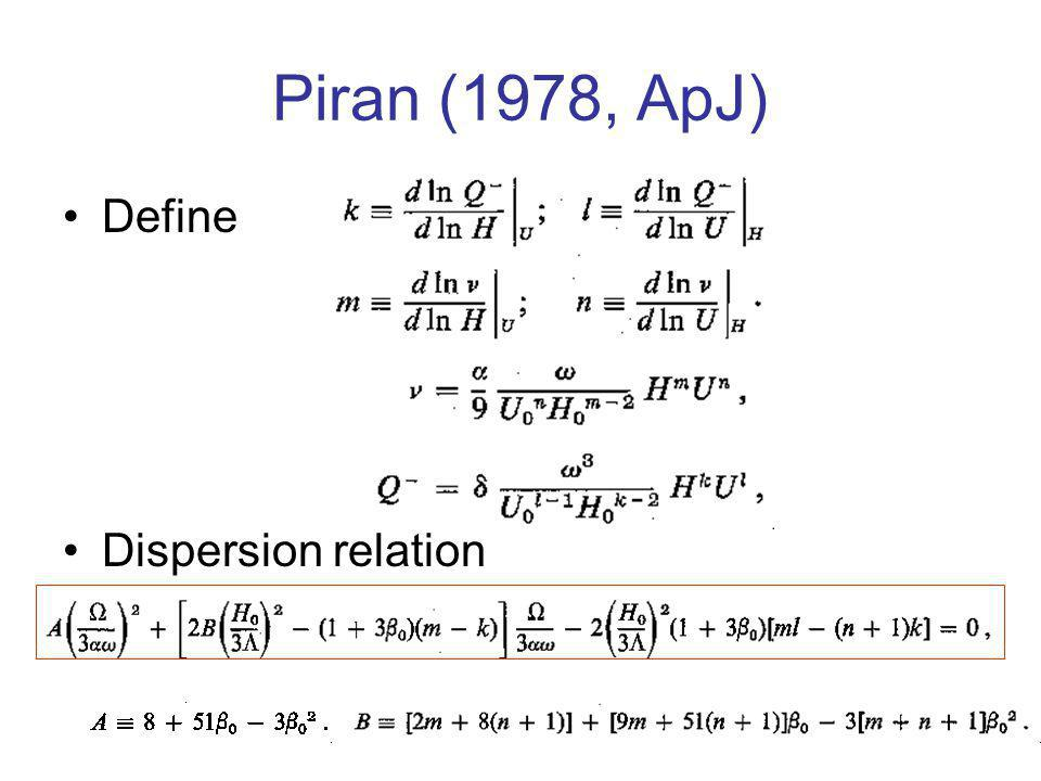 Piran (1978, ApJ) Define Dispersion relation