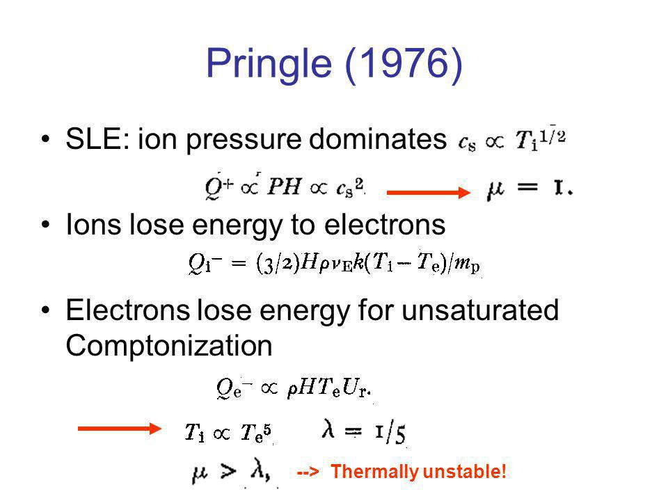 Pringle (1976) SLE: ion pressure dominates