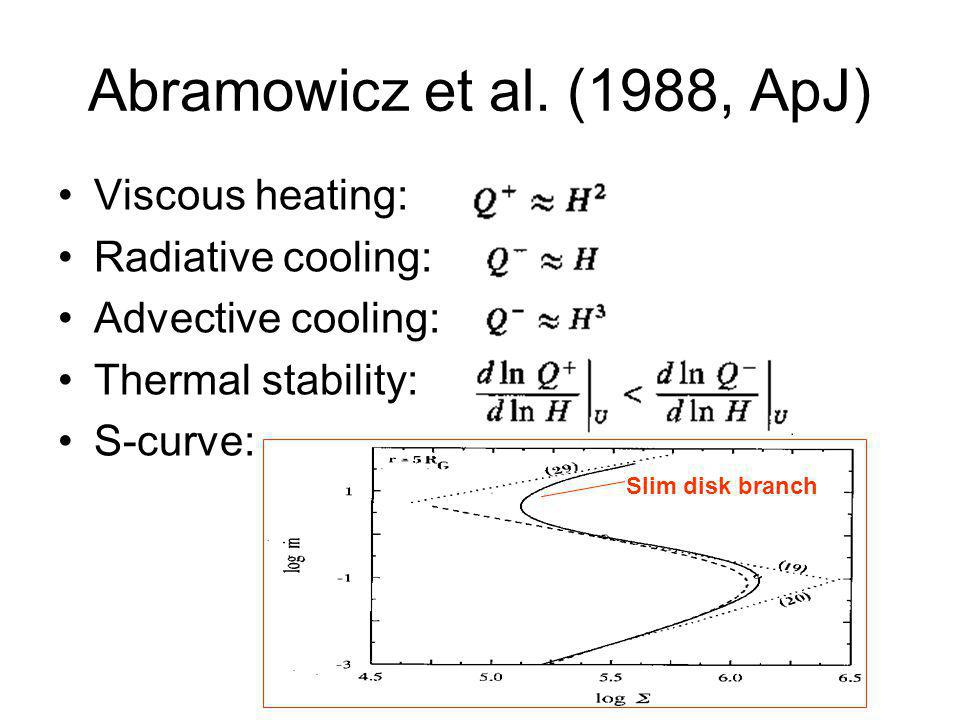 Abramowicz et al. (1988, ApJ) Viscous heating: Radiative cooling: