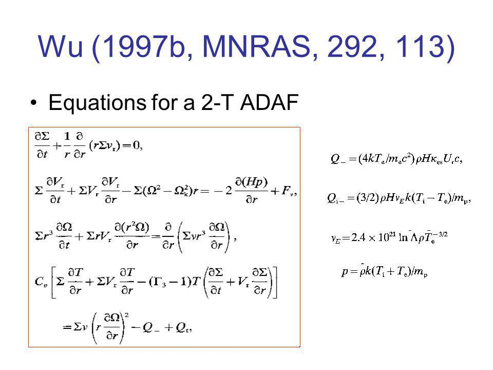 Wu (1997b, MNRAS, 292, 113) Equations for a 2-T ADAF