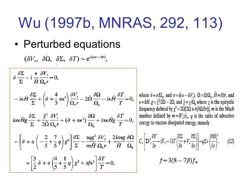 Wu (1997b, MNRAS, 292, 113) Perturbed equations