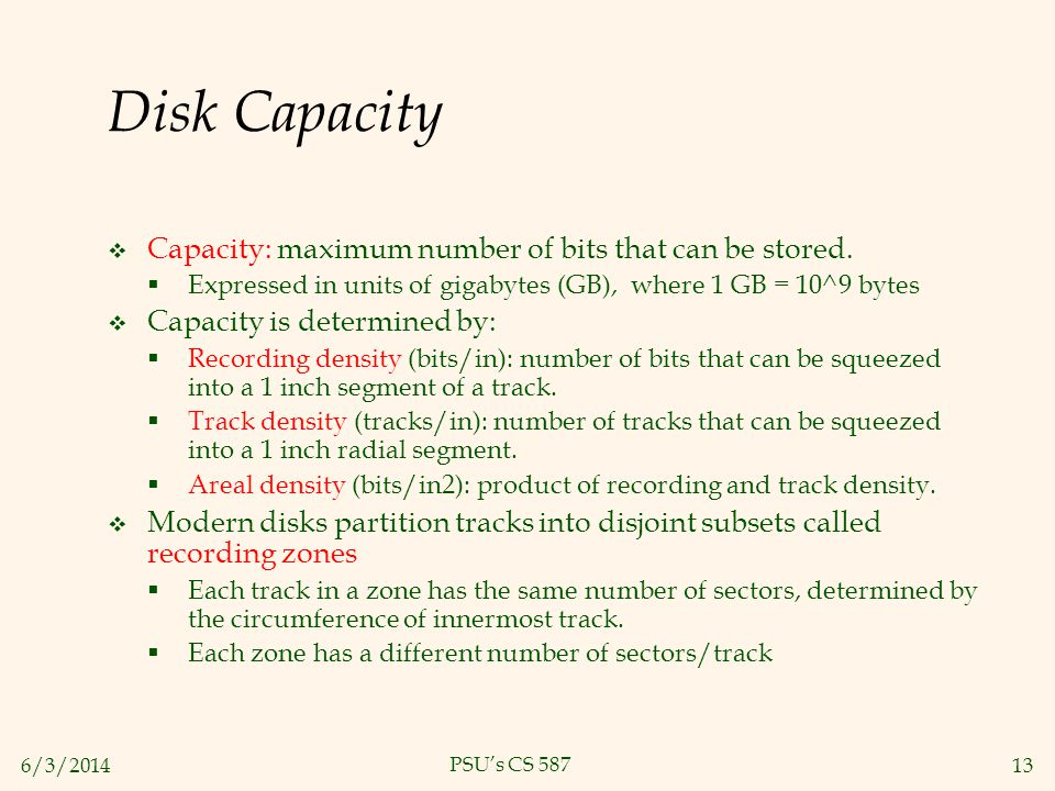 Disk Capacity Capacity: maximum number of bits that can be stored.
