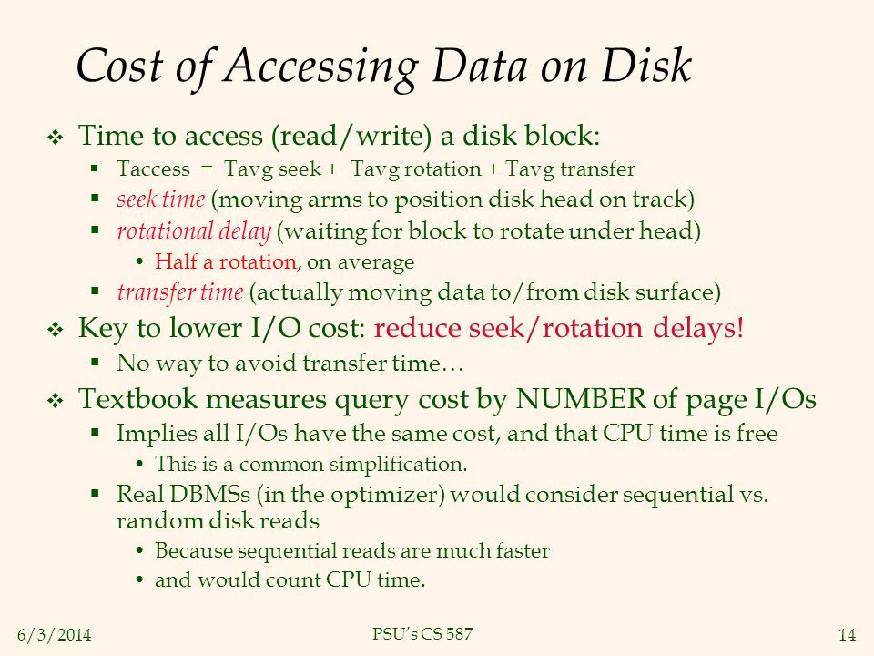 Cost of Accessing Data on Disk