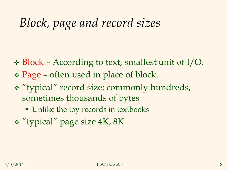 Block, page and record sizes