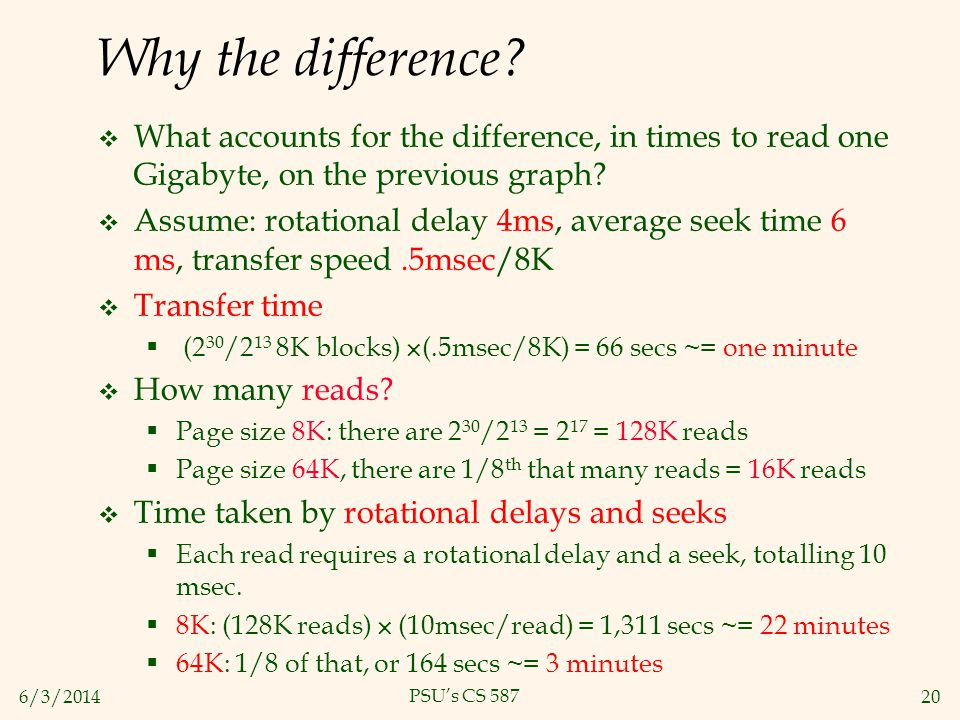 Why the difference What accounts for the difference, in times to read one Gigabyte, on the previous graph