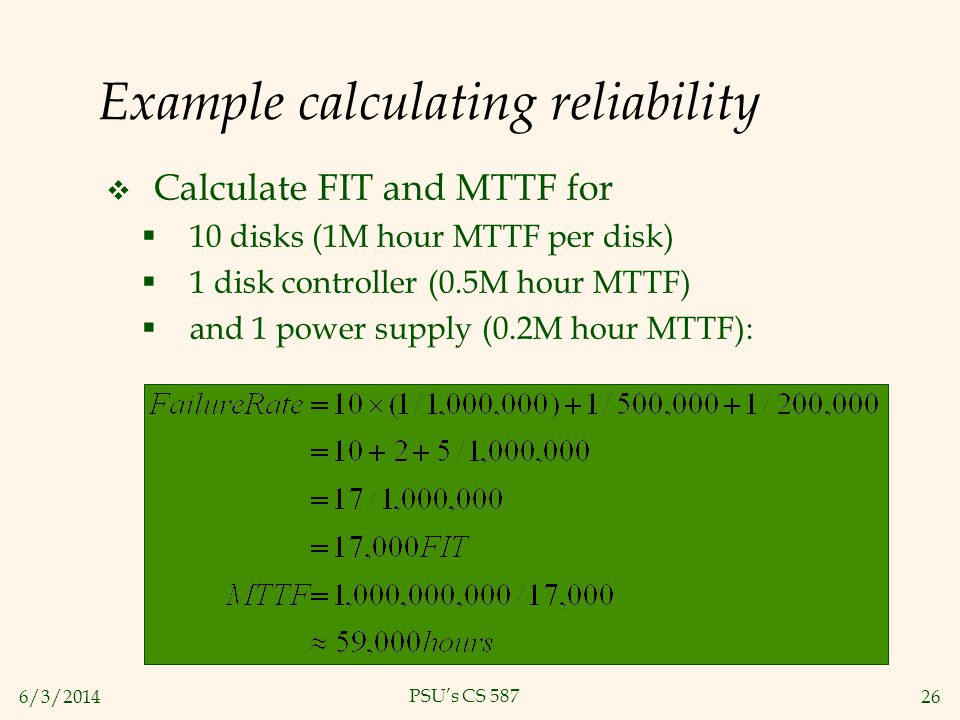 Example calculating reliability