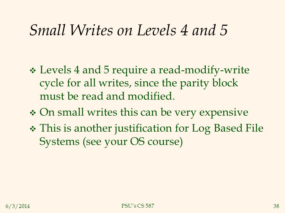 Small Writes on Levels 4 and 5
