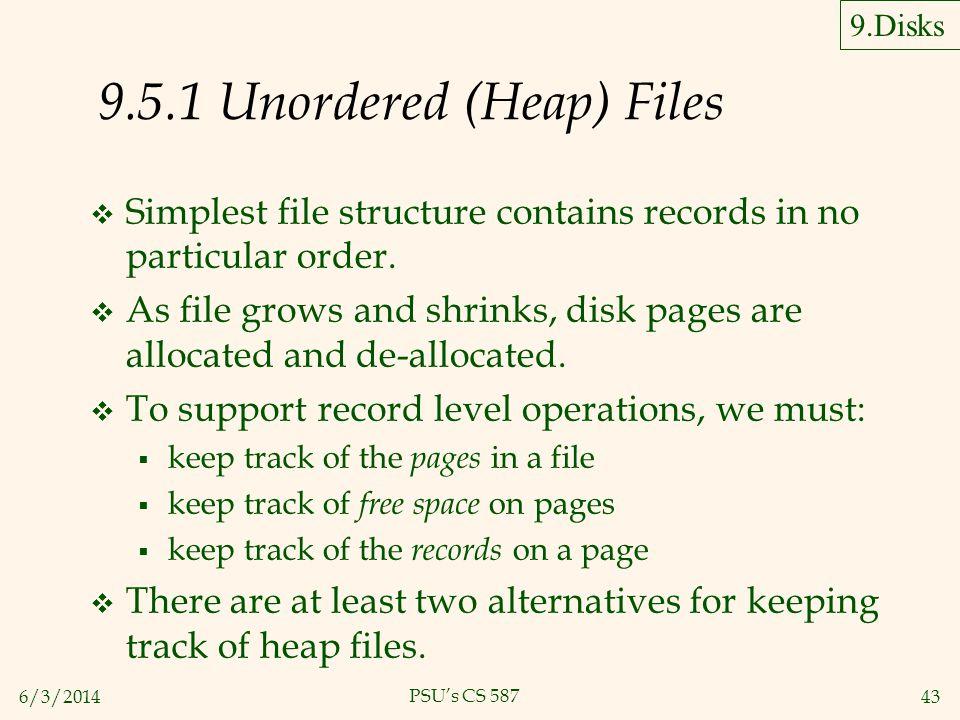 9.5.1 Unordered (Heap) Files