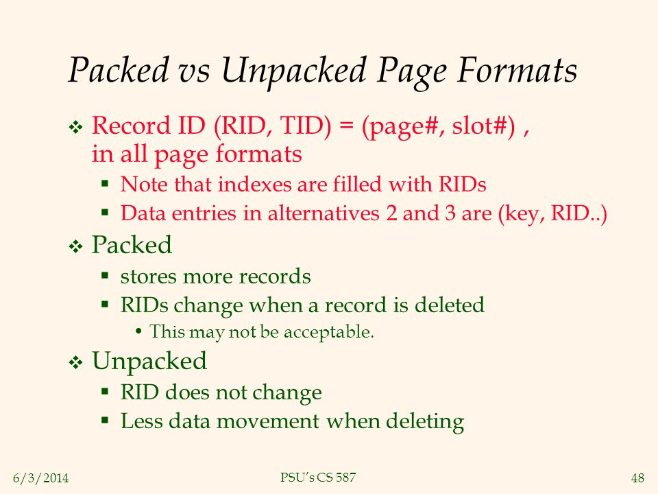 Packed vs Unpacked Page Formats