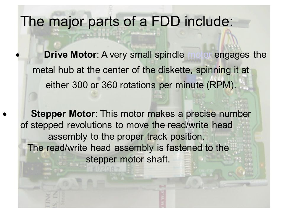 The major parts of a FDD include: