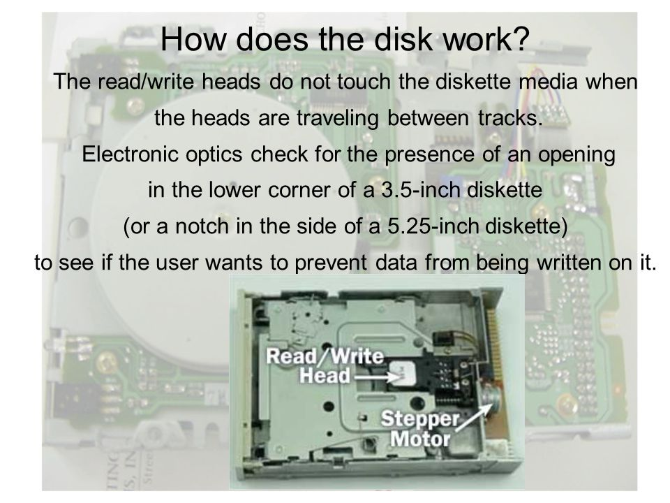 How does the disk work The read/write heads do not touch the diskette media when. the heads are traveling between tracks.