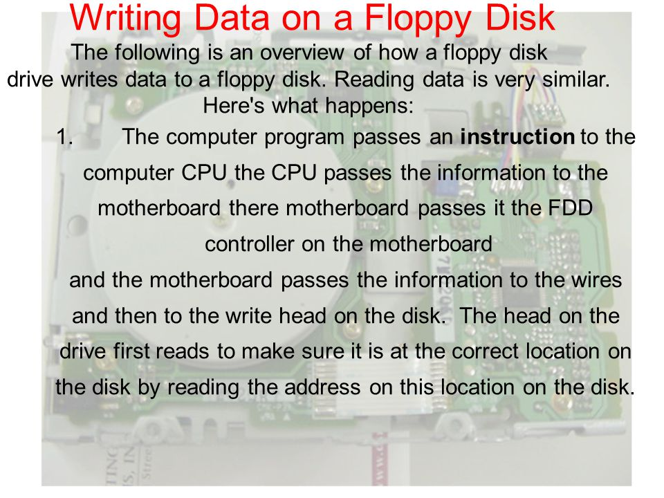 Writing Data on a Floppy Disk The following is an overview of how a floppy disk