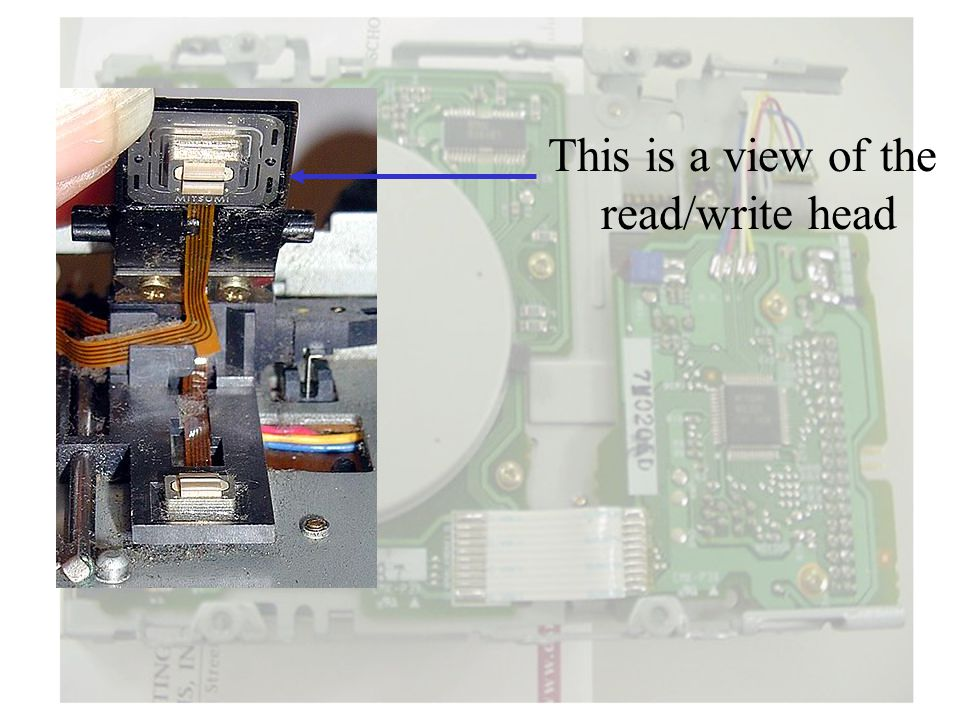 This is a view of the read/write head