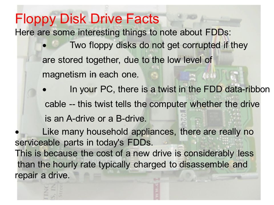 Floppy Disk Drive Facts Here are some interesting things to note about FDDs: