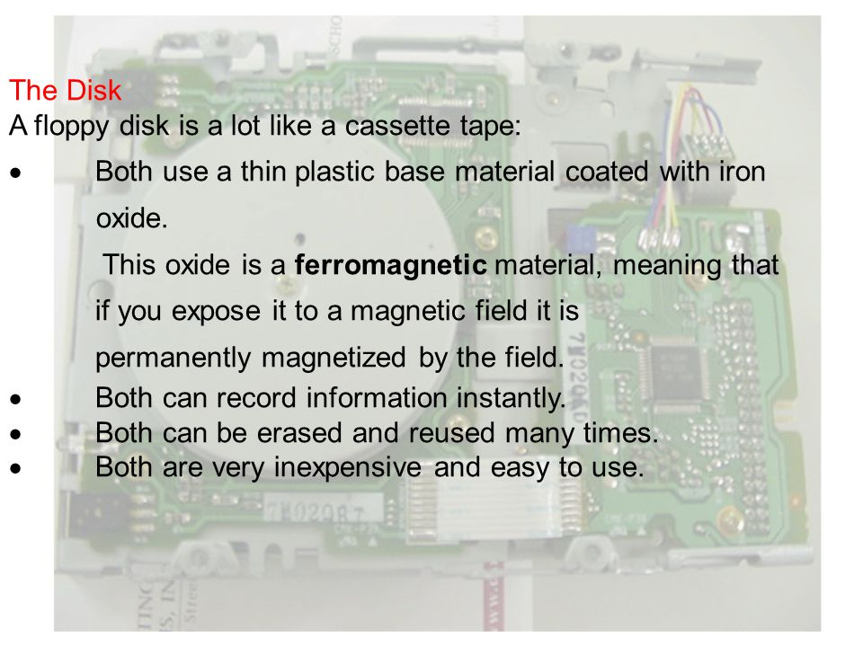 The Disk A floppy disk is a lot like a cassette tape: