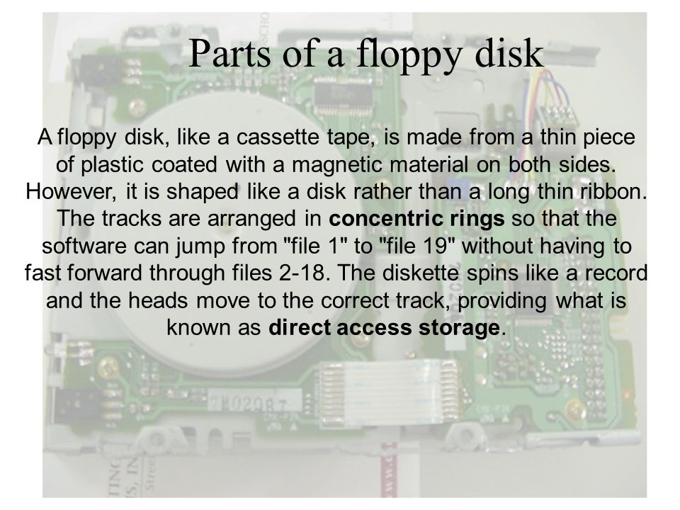 Parts of a floppy disk A floppy disk, like a cassette tape, is made from a thin piece. of plastic coated with a magnetic material on both sides.