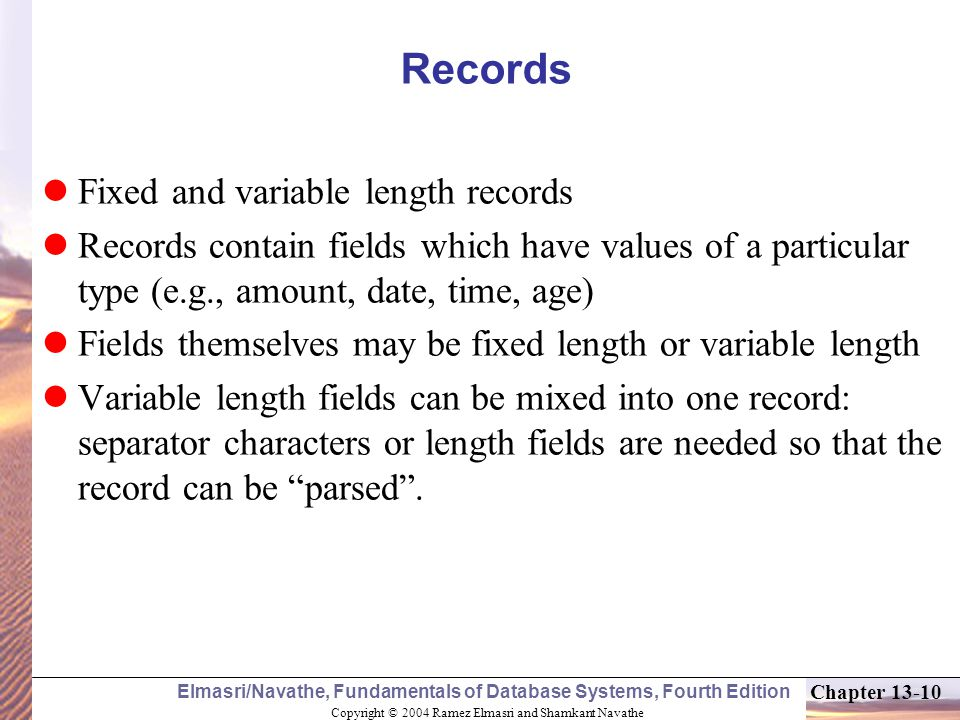 Records Fixed and variable length records