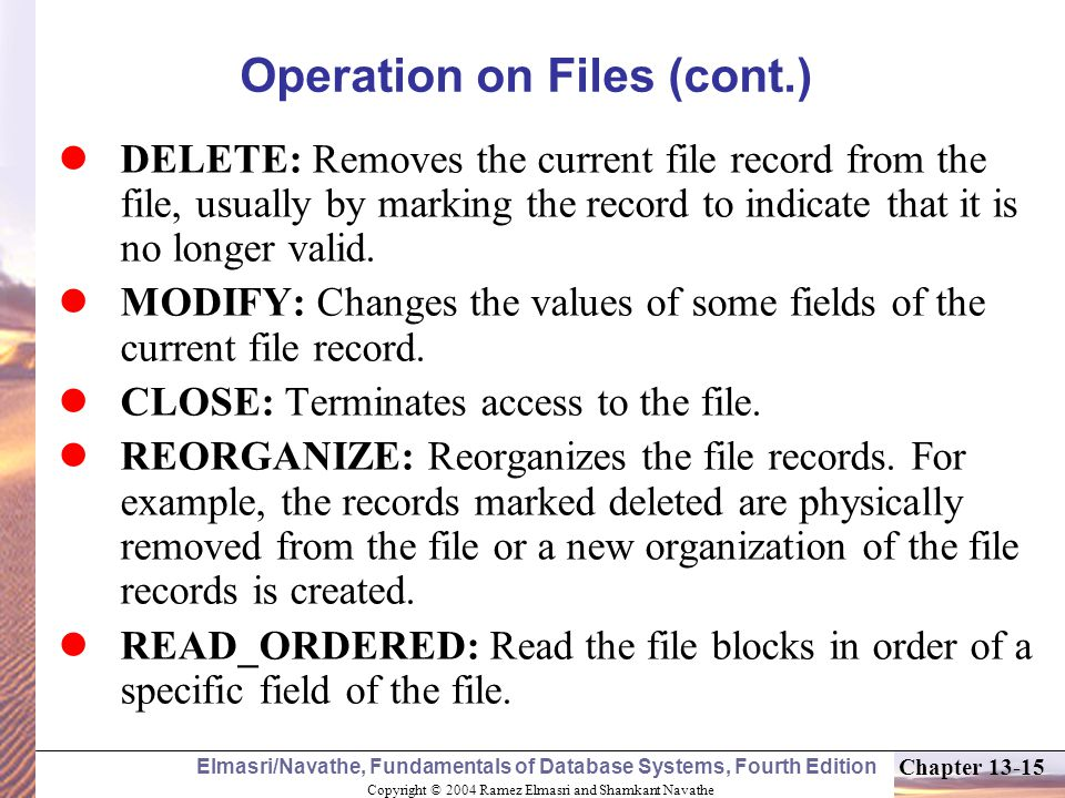Operation on Files (cont.)