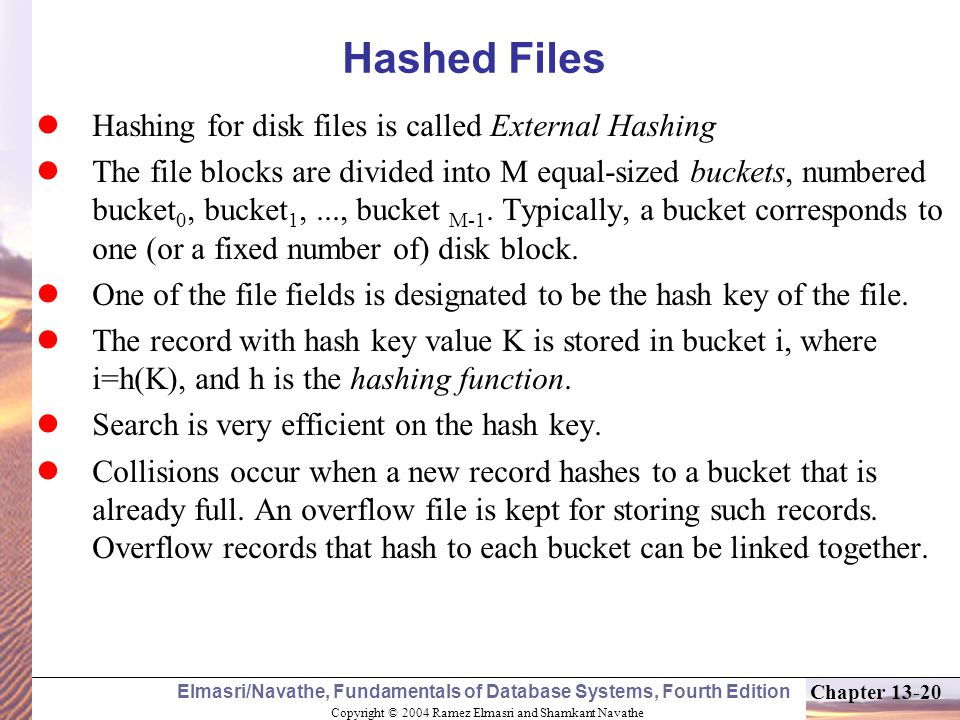 Hashed Files Hashing for disk files is called External Hashing