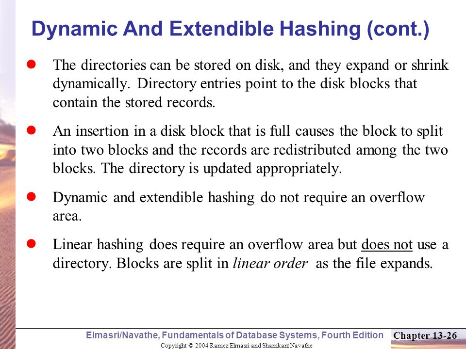 Dynamic And Extendible Hashing (cont.)